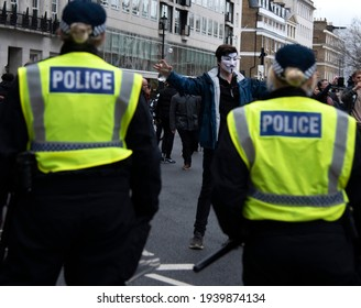London, England, UK - March 20, 2021: Protesters Hold Demonstrations on Langham Place in Defiance of Coronavirus Lockdown Restrictions, defying Metropolitan Police. Credit: Loredana Sangiuliano