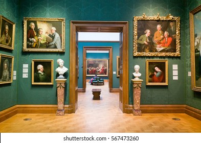 LONDON, ENGLAND, UK - MARCH 3, 2015: Historical oil paintings in the National Portrait Gallery, London, England, UK
