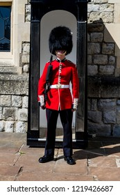 London, England, UK - May 17,2014: Royal Guard standing near booth