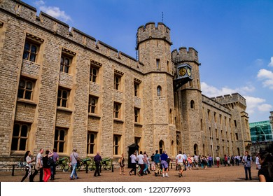 London, England, UK May 18,2018: People entering the Tower of London on a sunny day