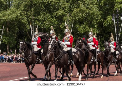 London, England, UK - May 19, 2014: Royal horseguards riding