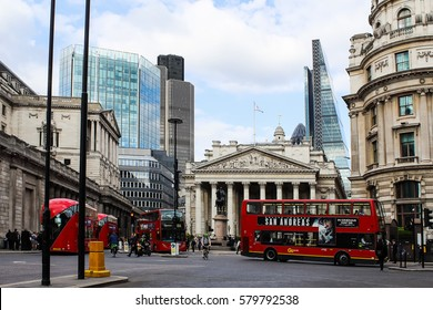 London, England, UK - MAY 26, 2015: The Royal Exchange at Cornhill and Threadneedle street, Bank junction, Bank financial district, City of London, United Kingdom