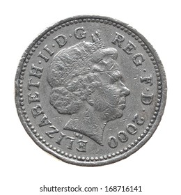 LONDON, ENGLAND, UK - NOVEMBER 23, 2013: HM The Queen Elizabeth II on One Pound coin from year 2000 isolated over white
