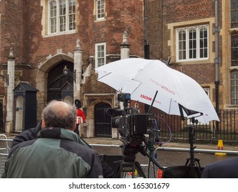 LONDON, ENGLAND, UK - NOVEMBER 30: BBC News location facilities at an outdoor live event broadcast on the occasion of the Royal Christening on November 30, 2013 in London, England, UK