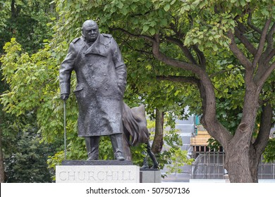 London, England, UK - October 12, 2013: Statue of Sir Winston Churchill in Westminster