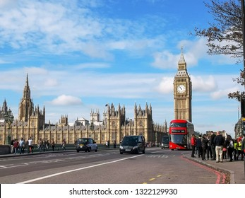 LONDON, ENGLAND, UK - SEPTEMBER 17, 2015: a double decker bus with big ben in london, uk