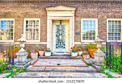 London, England, UK, September, 17th, 2019. Front entries to a house on Clarendon Place, West London.