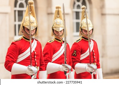 LONDON, ENGLAND UK - SEPTEMBER 20, 2014: Royal horse guards at the Admiralty House on September 20, 2014, England.