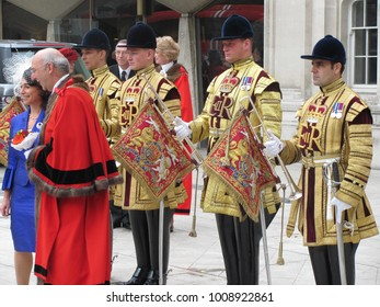 London, England  / UK - September 29, 2010: Pomp and ceremony surround the annual election of London's Lord Mayor at Guildhall. Michael Bear was elected the city's 683rd Lord Mayor in 2010.