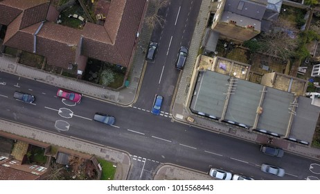 London, England, United Kingdom. Aerial Drone flight over busses and traffic on a bright sunny morning.