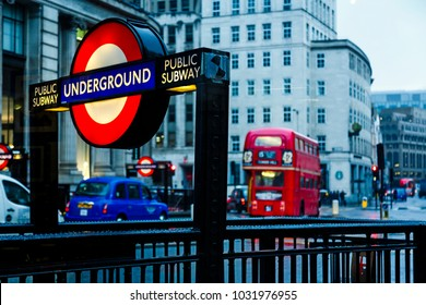 London, England, /United kingdom – December 21st 2017:  Routemaster double decker bus and Underground sign, London, England, United Kingdom, Europe
