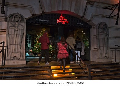 London, England / United Kingdom - December 10 2017: The London Dungeon facade at night