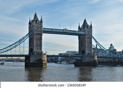 London, England / United Kingdom - December 12 2017: Tower Bridge Scene in River Thames. Historical and iconic landmark of the city of London