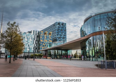 London, England / United Kingdom - September 25, 2014: The modern building in Peninsula Square in Greenwich
