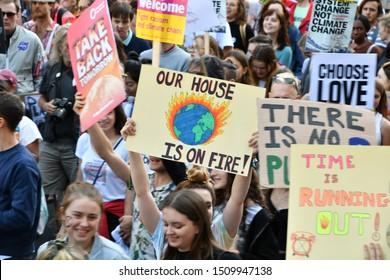 London, England / United Kingdom - September 20 2019: Global Climate Strike in London