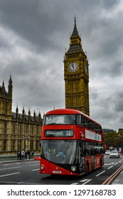 London, England, United kingdom -  Tuesday, 25 August 2015; English Icons The Big Ben and a Double decker bus.