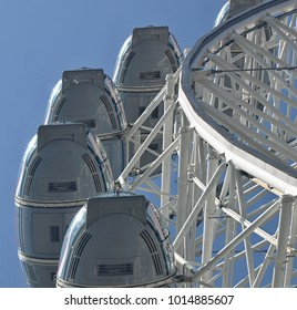 London, England-04/16/2017: Details of the white Wheel in London with blue sky
