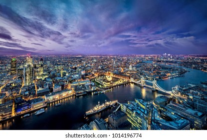 London, England-04/17/2017: Beautiful aerial view of London at night