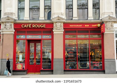 LONDON, ENGLAND-1 JULY 2013: Facade of Café Rouge St Paul's is the place to enjoy a little slice of Paris in the heart of London near St Paul's cathedral and Blackfriars station, United Kingdom
