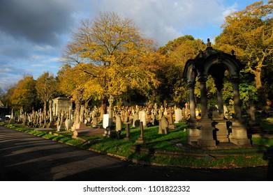 LONDON, ENGLAND-21 NOVEMBER 2013: Putney Vale Cemetery and Crematorium in southwest London