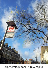 LONDON, ENGLAND-22 DECEMBER 2013: The London bus stop logo under the big tree and beautiful sky. It shows Putney station bus stop towords Wandsworth and number 37, 337. It is south west London, UK