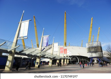 LONDON, ENGLAND-7 MARCH 2015: The O2 Arena is a multi-purpose indoor arena located in the centre of The O2 entertainment complex on the Greenwich Peninsula in south east London, England, UK