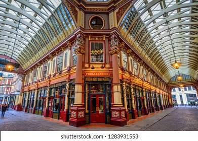 LONDON, ENGLAND/UK - January 13 2019: Leadenhall Market in the City of London on Sunday January 13 2019, in the morning, without the usual weekday crowds of city workers.
