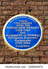 London, England/UK - July 3rd 2018: Blue plaque for site of Portuguese Embassy and site where Marquess of Pombal lived