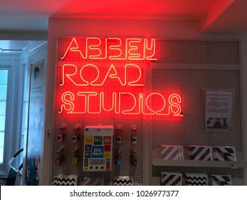 London, England/UK- June 20 2017. Neon sign on display for Abbey Road Studios, the name of the studio where the Beatles recorded their music.