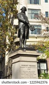LONDON, ENGLAND/UK - November 3, 2018. Statue of Robert Raikes, Victoria Embankment Gardens, London, England