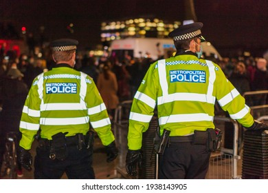 london, Englandunited kingdom - march 16 2021: police standing outside scotland yard during kill the bill protest