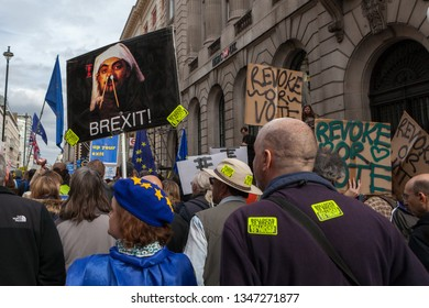 London, England/United Kingdom - march 23rd 2019: Put It To The People Brexit protest signs, placards and flags