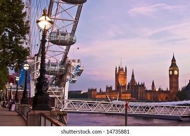 London eye and big ben at night