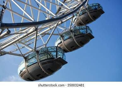 London Eye closeup on September 22, 2014 in London, UK. It is Europe's tallest Ferris wheel and the most popular paid tourist attraction in UK