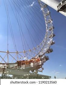 London Eye Ferris Whell Blue Sky