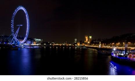 London Eye and Parliament at Night