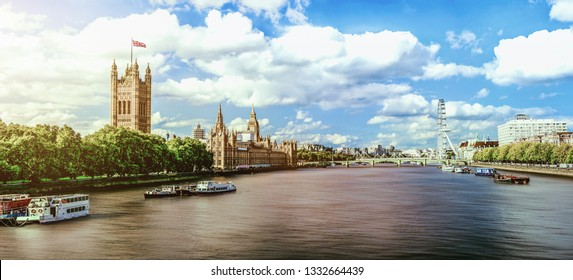London eye with Westminster Palace in London, UK
