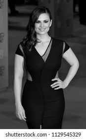 LONDON - FEB 08, 2015: ( Image digitally altered to monochrome ) Hayley Atwell attends the EE British Academy Film Awards at The Royal Opera House
