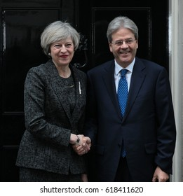 LONDON - FEB 09, 2017: Prime Minister Theresa May and Prime Minister of Italy Paolo Gentiloni at No.10 Downing street