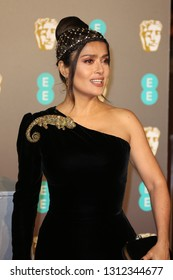 LONDON - FEB 10, 2019: Salma Hayek attends the 72nd British Academy Film Awards at the Royal Albert Hall