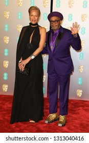 LONDON - FEB 10, 2019: Spike Lee and Tonya Lewis Lee attends the 72nd British Academy Film Awards at the Royal Albert Hall