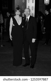 LONDON - FEB 12, 2017:  ( Image digitally altered to monochrome ) Bryce Dallas Howard and Ron Howard attend The EE British Academy Film Awards (BAFTA) at the Royal Albert Hall