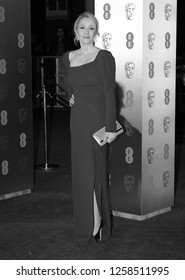 LONDON - FEB 12, 2017: ( Image digitally altered to monochrome )  J.K. Rowling attends The EE British Academy Film Awards (BAFTA) at the Royal Albert Hall