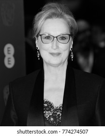 LONDON - FEB 12, 2017: ( Image digitally altered to monochrome ) Meryl Streep attends The EE British Academy Film Awards (BAFTA) at the Royal Albert Hall