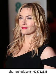LONDON - FEB 14, 2016: Kate Winslet attends the EE Bafta British Academy Film Awards at the Royal Opera House on Feb 14, 2016 in London