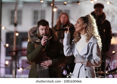 LONDON - FEB 14, 2018: Calum Scott and Leona Lewis seen rehearsing for the BBC One Show at the BBC Studios
