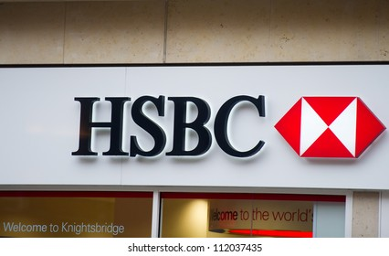 LONDON - FEB 17: HSBC Bank branch on February 17, 2012 in London, United Kingdom. As of 2012 it is the world's third-largest banking and financial services group. HSBC exists since 1865.