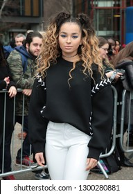 LONDON - FEB 19, 2017: Ella Eyre arrives for the Topshop Unique Show Autumn Winter 2017, London Fashion Week in London