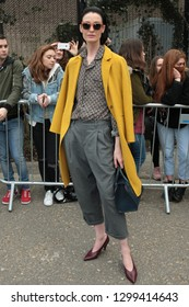 LONDON - FEB 19, 2017: Erin O'Connor arrives for the Topshop Unique Show Autumn Winter 2017, London Fashion Week