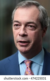LONDON - FEB 21, 2016: Nigel Farage at The Andrew Marr Show at the BBC studios on Feb 21, 2016 in London